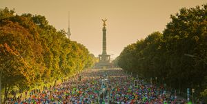 Berlin Marathon skyline with sunlight