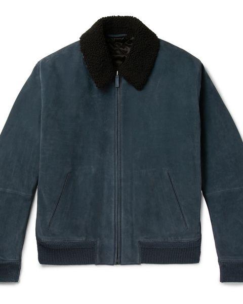 chaqueta cuero azul hombre