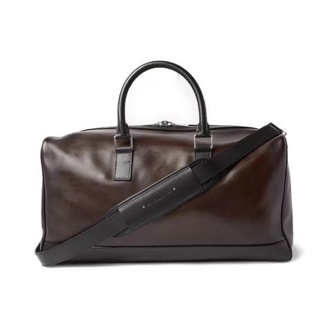 berluti polished leather weekend bag