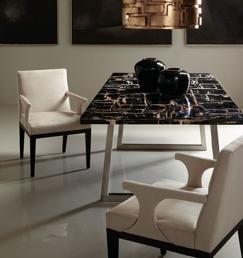 Furniture, Table, Room, Interior design, Coffee table, Black-and-white, Chair, Dining room, Design, Kitchen & dining room table,