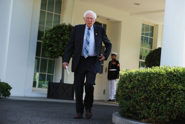 washington, dc   july 12 senate budget committee chairman bernie sanders i vt talks to reporters outside the west wing following a meeting with president joe biden at the white house july 12, 2021 in washington, dc sanders said that he and the president were on the same page on budget priorities and infrastructure  photo by chip somodevillagetty images