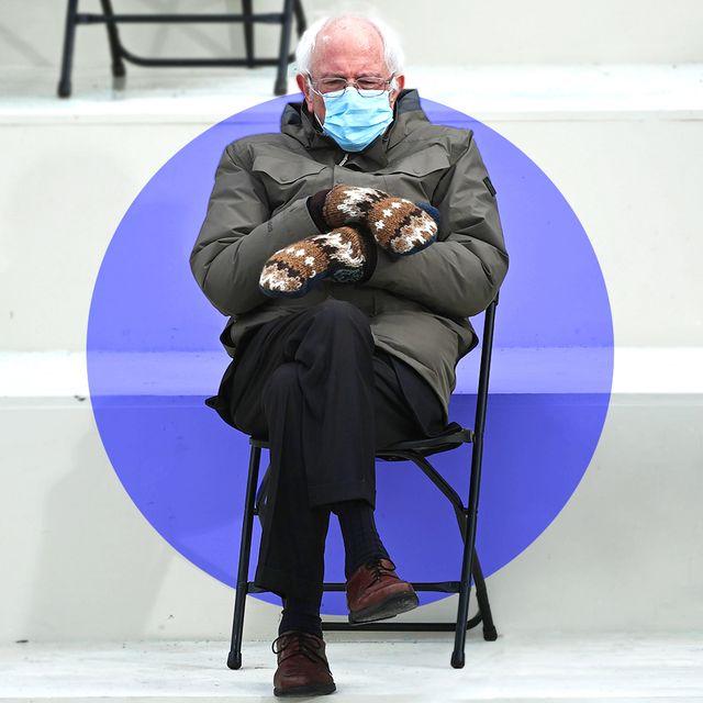 bernie sanders at inauguration wearing wool mittens
