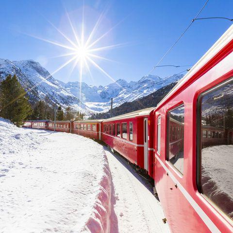 Train holidays -Bernina Express train, Morteratsch, Switzerland