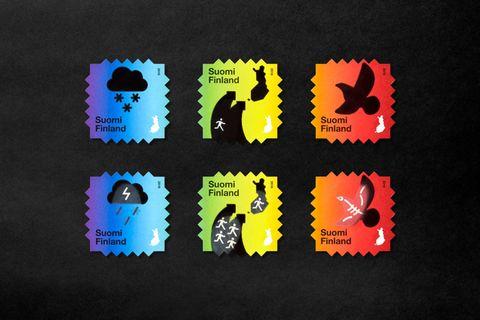 芬蘭遇熱漸變郵票