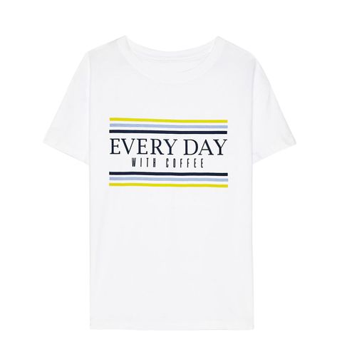 White, T-shirt, Clothing, Product, Yellow, Text, Sleeve, Font, Top, Active shirt,