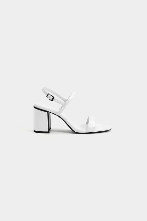 Footwear, White, Shoe, Sandal, Slingback, High heels,