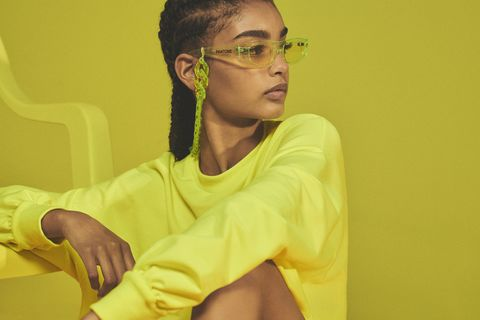 Yellow, Eyewear, Green, Glasses, Sitting, Vision care, Adaptation, Room, Ear, Photography,