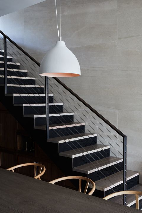 Stairs, Lighting, Light fixture, Ceiling, Architecture, Interior design, Handrail, Line, Design, Room,