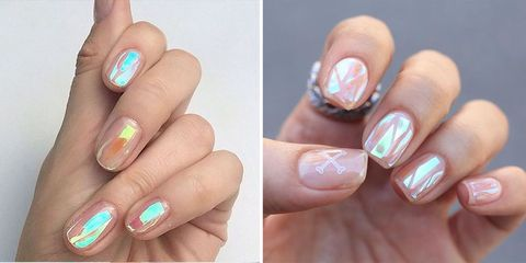 夏日指彩,美甲,指甲彩繪,光療,玻璃貼,透明感,光澤,亮晶晶,beauty,glassnail,