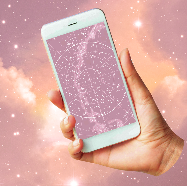 a hand holds out a showing a birth chart both the birth chart on the phone and the background of the photo have a purple, starry background