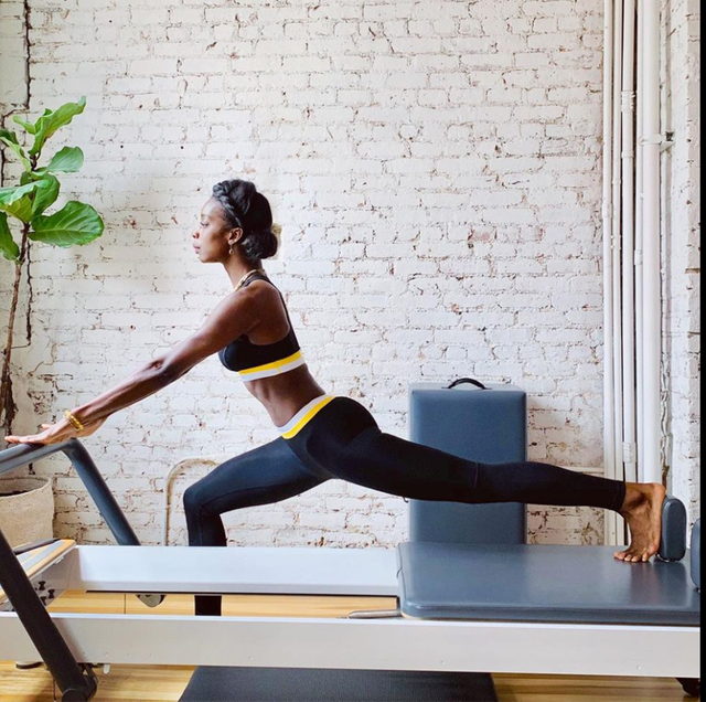 a woman working out
