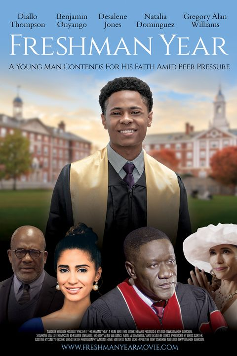 a black graduate stands on a college campus with four other characters near the bottom of a movie poster for the movie freshman year