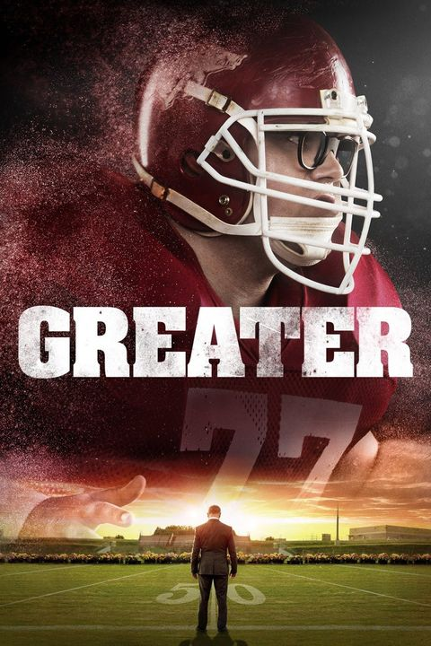 a movie poster for greater with the image of a football player