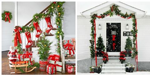 best christmas garland ideas - Banister Christmas Garland Decor