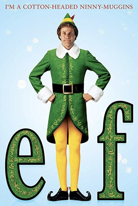 a movie poster for the movie elf with a man dressed up in an elf costume