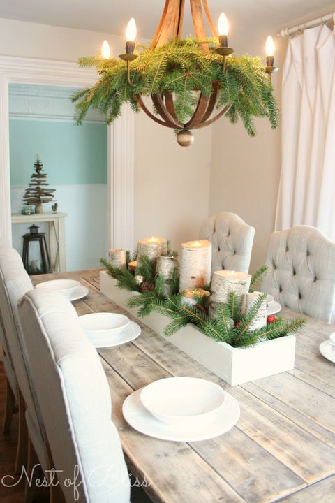 christmas table settings centerpiece birch candles - Dining Room Table Christmas Decoration Ideas