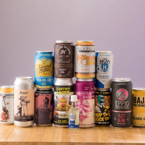 a stack of beers from assorted breweries tied to the best coast beer fest