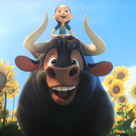 an animated bull with a girl riding in top