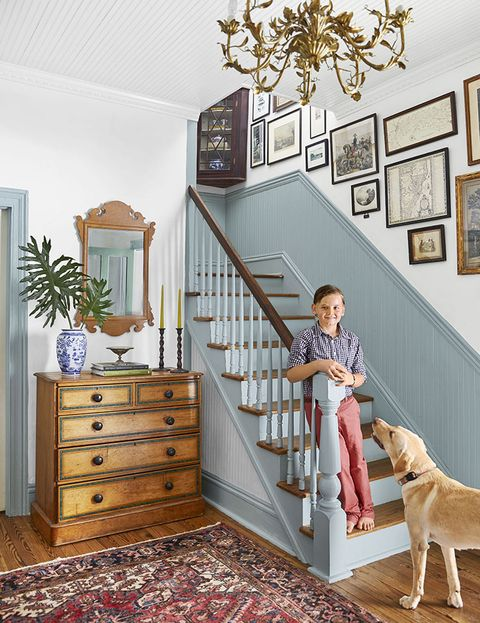 every house has a story home of lauren northup and scott riddell in summerville, south carolina staircase, entryway, chippendale style mirror