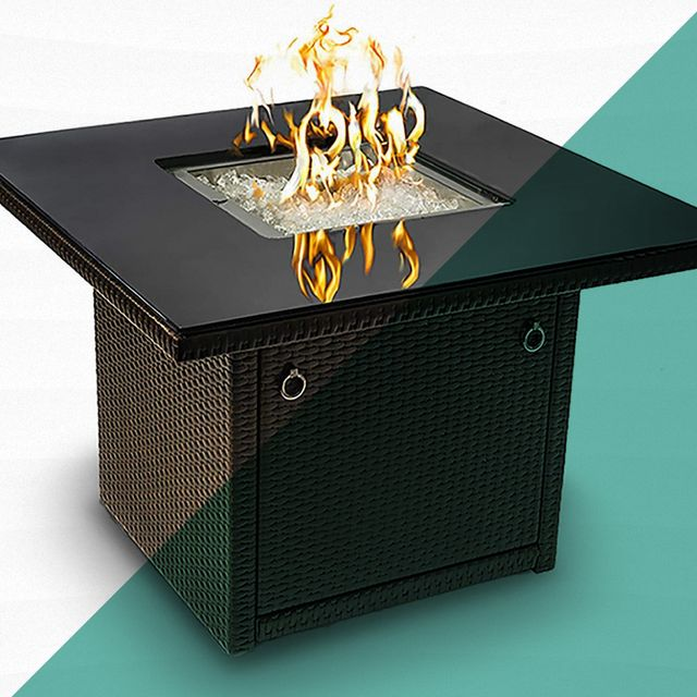 gas fire pit with flame