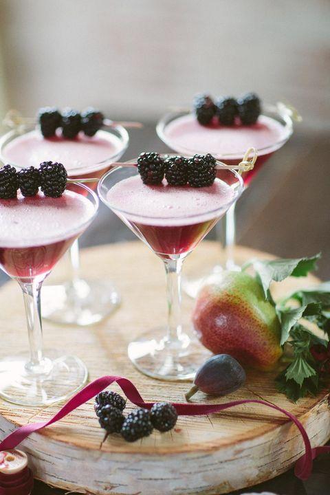 dark purple blackberry wedding cocktails