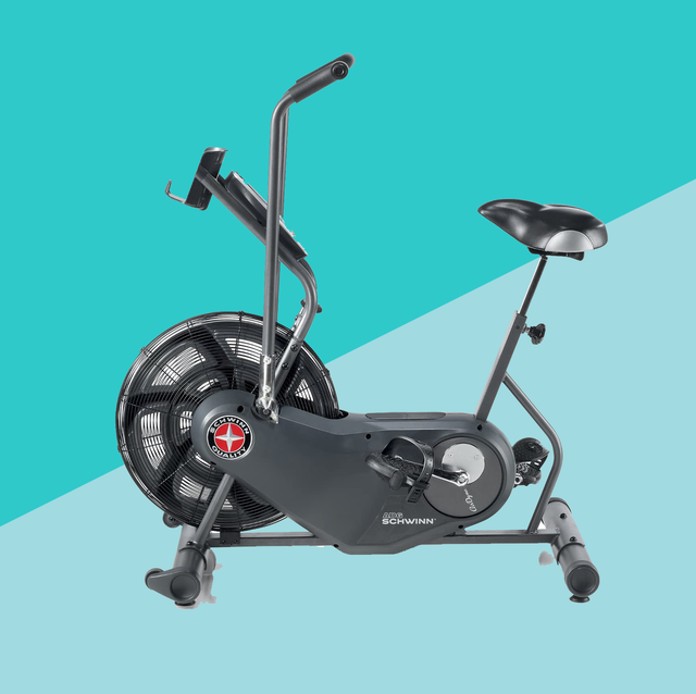 home exercise bike on blue background
