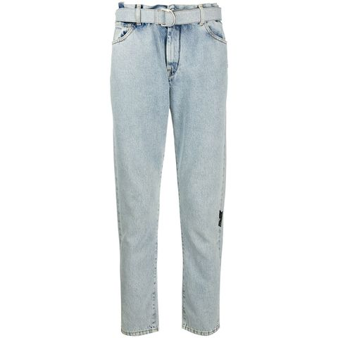off white bleached effect slim fit jeans