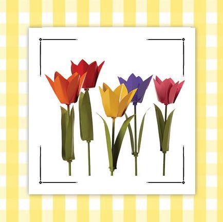 dog topiaries and aluminum tulips gingham border