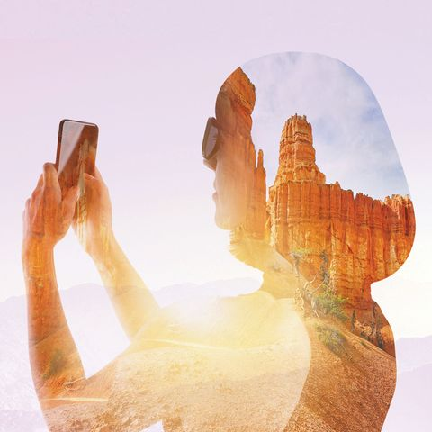 woman holding phone overlapped with rocky landscape