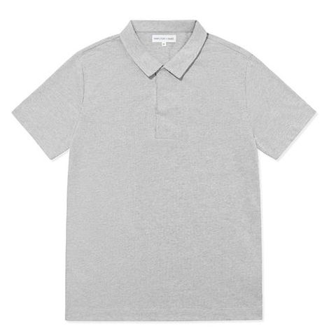 hamilton and hare polo shirt short sleeve   grey stripe