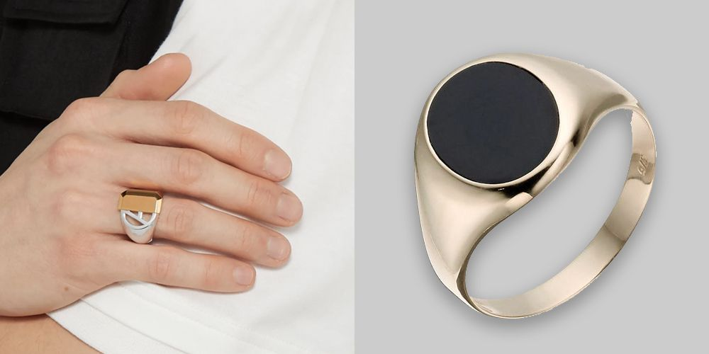 Size J to Z+5 Silver Plated Mens Pattern Onyx Boys Signet Ring Wedding Band