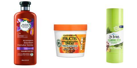 Herbal Essences shampoo; Garnier Fructis 1 minute mask, st ives cleansing stick