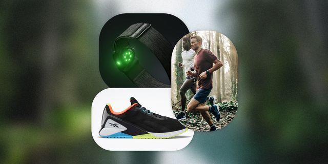 reebok nano x1, two men running wearing tracksmith x taylor stitch, polar verity sense black wristband