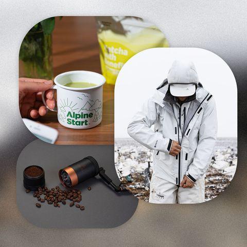 collage of vssl java coffee grinder, alpine start with benefits matcha in a mug, and sitka nodak system jacket