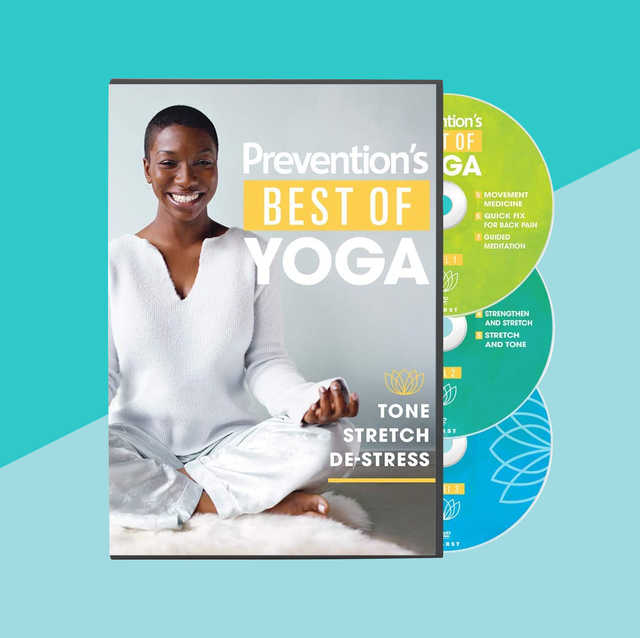 best of yoga dvd on blue background