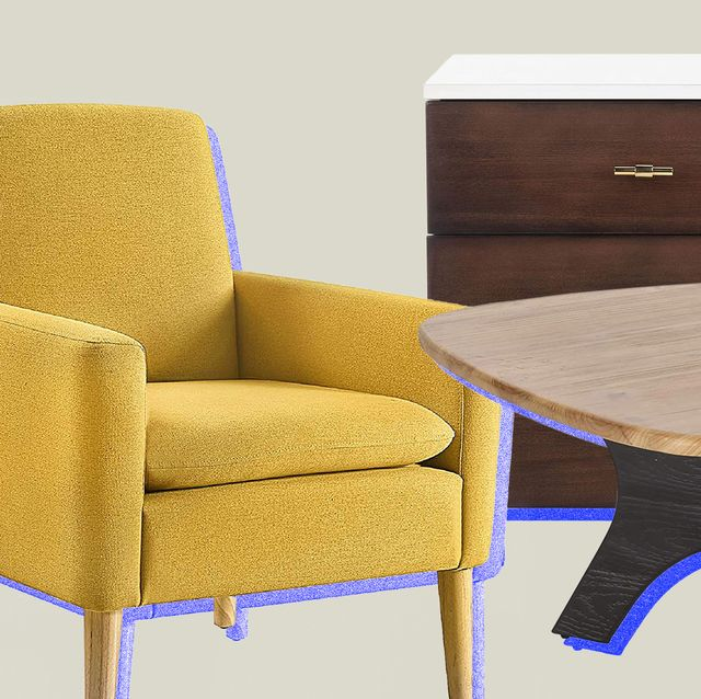 yellow chair, nightstand and coffee table