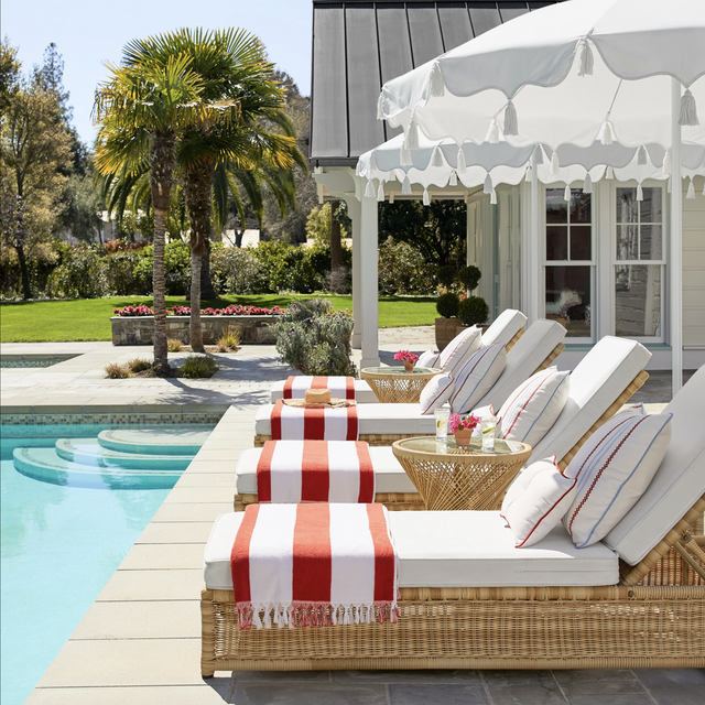 pool with lounge chaises