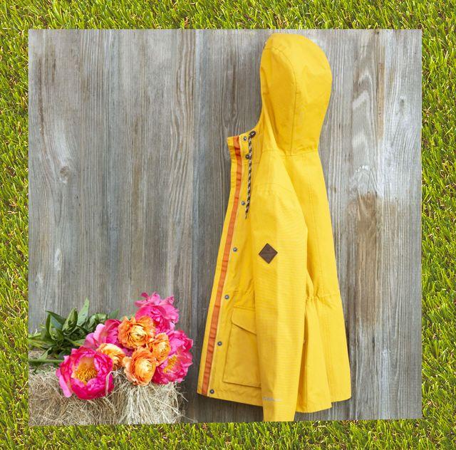 eddie bauer yellow ll bean teal rain jackets