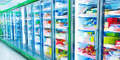 frozen food aisle at grocery store