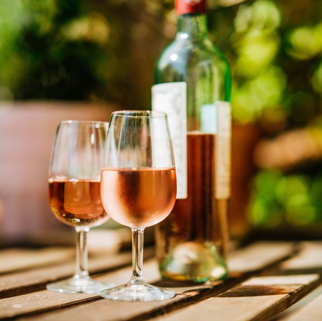 two glasses of rose wine outside