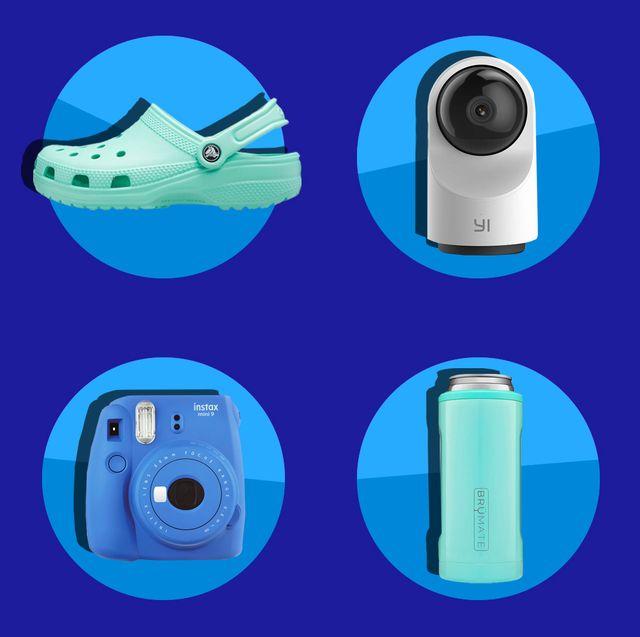 crocs, camera, pet glove, insulated glass, weighted blanket, dinosaur sprinkler, brumate koozie, fujifilm instant camera