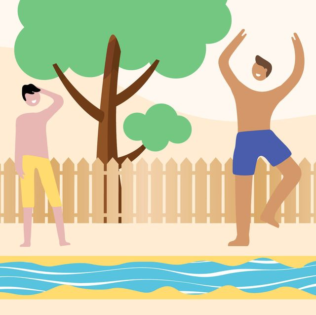 illustration of people playing with a lawn water slide