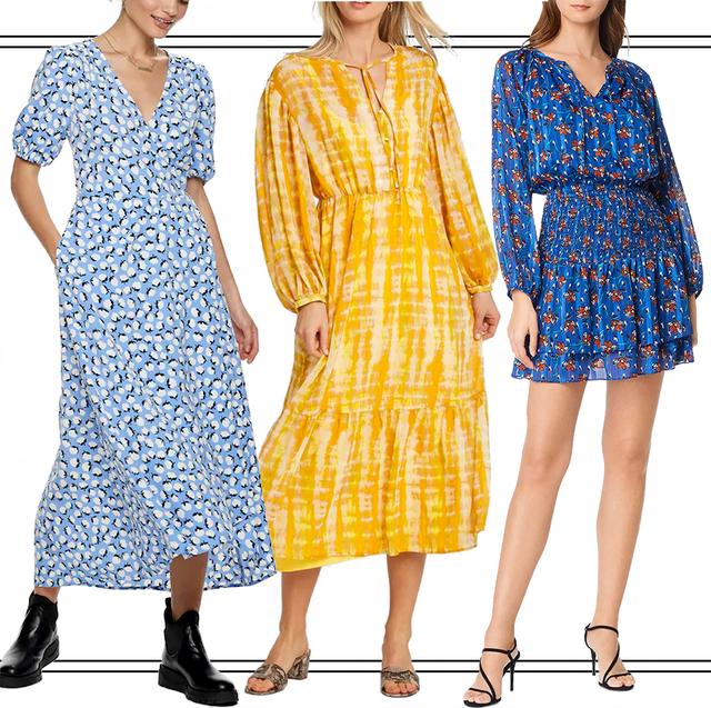 Clothing, Day dress, Dress, Yellow, Fashion model, Fashion, Pattern, Outerwear, Sleeve, Footwear,