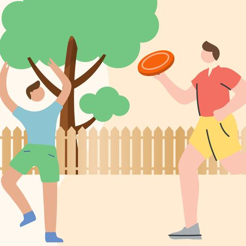 illustration of man playing frisbee with kid