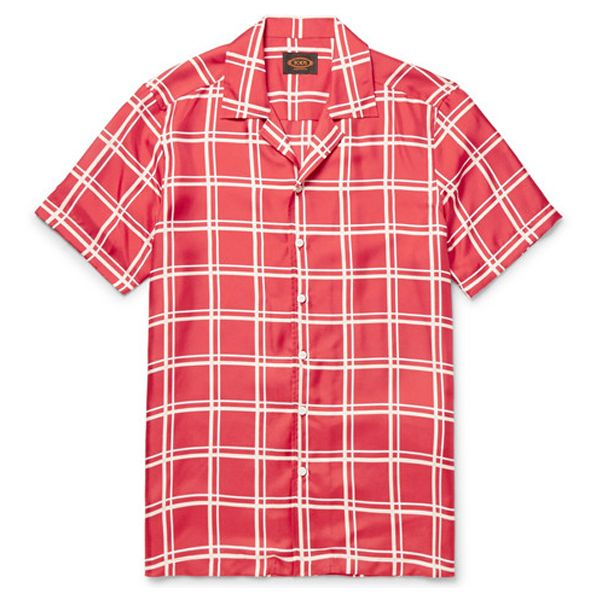 Red and white windowpane checks summer shirtfor men