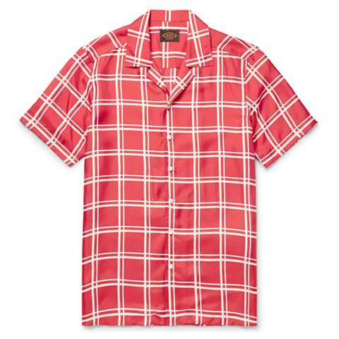 Red and white windowpane checks  summer shirt for men