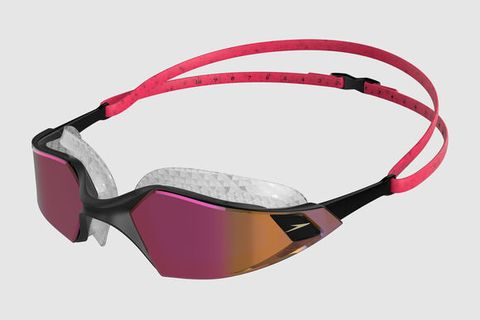 cut out image of swimming goggles with slim pink and black reflective lenses and bright pink head strap