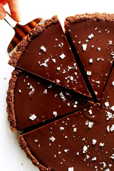 best valentines day desserts salted dark chocolate tart