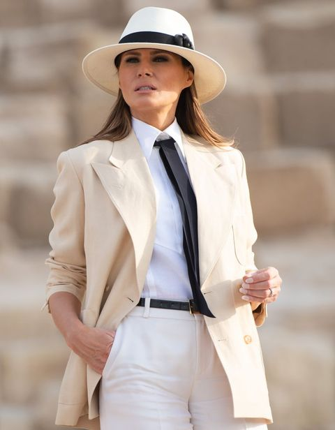 White, Clothing, Street fashion, Outerwear, Blazer, Suit, Hat, Beige, Formal wear, Fashion,
