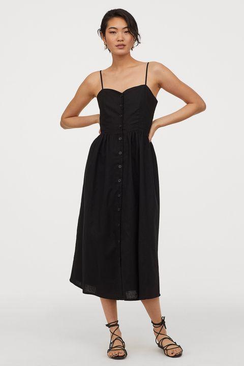 black linen blend button down dress from hm   £2499